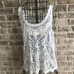 Capri Lace Sleeveless Top Sheer Swimsuit Cover Up